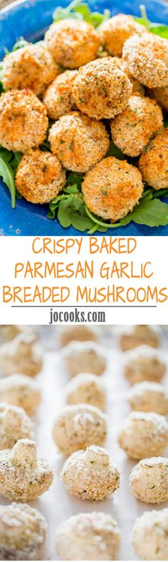 Crispy Baked Parmesan Garlic Breaded Mushrooms - enjoy this restaurant favorite without all the fat and calories, try them baked! You still get all the flavor without the guilt.