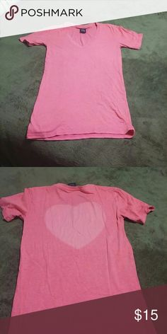 Decided to part with some of my tees V neck tee with a light pink heart on the back. Shirt is on the longer side and so are the sleeves but super cute for sunday brunch PINK Victoria's Secret Tops Tees - Short Sleeve