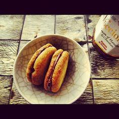 Salted bisquits with Nocciolata, organic sweet hazelnut cream.