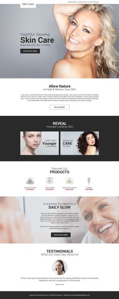 youthful glowing skin care responsive landing page design Sensitive Skin Care, Oily Skin Care, Healthy Skin Care, Skin Care Tips, Best Landing Page Design, Best Landing Pages, Oil For Dry Skin, Skin Secrets, Tan Skin