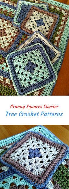 Granny Squares Coaster Free Crochet Pattern #crochet #crafts #homedecor #handmade