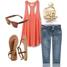 Coral and denim, one of my fave combinations!