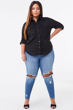 Casual Plus Size Outfits, Trendy Plus Size Clothing, Plus Size Fashion For Women, Curvy Outfits, Stylish Outfits, Cute Plus Size Clothes, Girl Outfits, Blue Jean Outfits, Blue Jean Dress