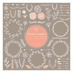 50 floral handgezeichnete Digital ClipArt Hochzeit von idadrawing