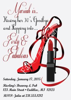 Red Hot Forty Fabulous Birthday Invitation By FabPartyPrints 50th Celebration Ideas