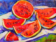 Watermelon Painting, Watermelon Art, Oil On Canvas, Canvas Art, Original Paintings, Original Art, Modern Impressionism, Painting Still Life, Art Oil