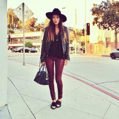 True Religion Leather Jacket, Wesley Mason's Zara Sweater, James Jeans Waxed Jeans (similar), Jennifer Zeuner Necklace, Givenchy Antigona Bag