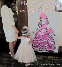 Pin the crown on the Princess, a fun game for a little girl's party.