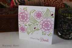 Henna Design Stamped Diwali Card by RatanjiRani on Etsy