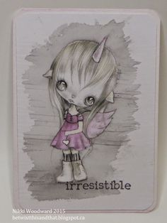 """'Unicorn' by Ppinky Dolls Art. For Wicked Wednesday atc challenge """" pink, black & white."""