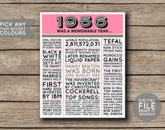 1956 Printable 60th Birthday or Anniversary by shopmarigoldlane