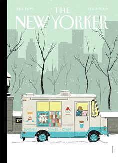 """""""Winter Break"""" by Adrian Tomine, cover art for the February 2009 edition of 'The New Yorker.' Clearly an 'homage' to Mister Softee, though one would find these trucks more than scarce in winter, when I was a kid. Clever, cozy and - splendid! The New Yorker, New Yorker Covers, Gravure Illustration, Illustration Art, Capas New Yorker, New York Drawing, Tomer Hanuka, Typographie Fonts, Chris Ware"""