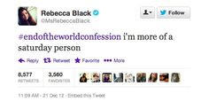 Rebecca Black Gives Most Shocking End Of The World Confession