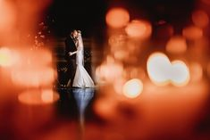 Bride and Groom and lights.  Wedding Portraits
