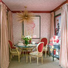 Unique chandelier adds glam to this dining room in red. Home Interior, Interior Decorating, Dining Room Storage, Dining Rooms, Dining Room Fireplace, Red Curtains, Wall Treatments, Room Colors, Design Firms