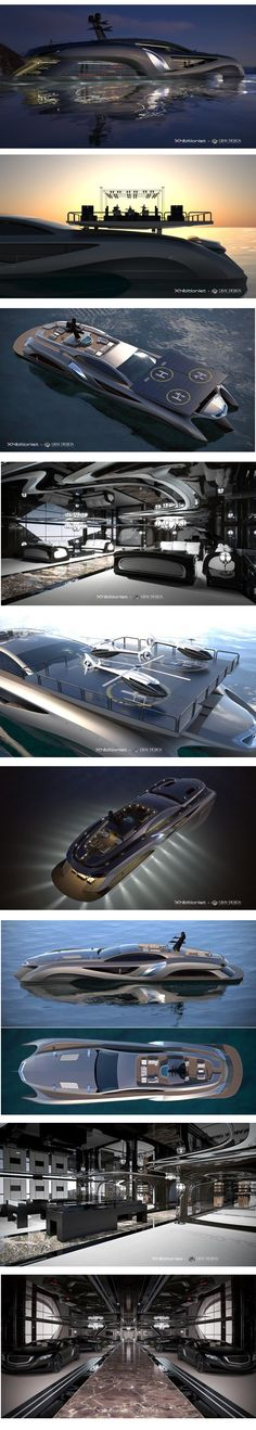 Concept Superyacht Xhibitionist by Gray Design: This extraordinary yacht by is 75-meters in size and decked out with the best of technology and design. Features a car showroom, retail space, entertaining room and a roof with built-in solar panels that double as a helicopter landing pad. On the engine side, it boasts a 630-horsepower V12 engine, making quick getaways a breeze. If you have to ask the price you can't afford it. For more ideas: http://www.jetclassgroup.com/en/