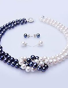 White & Blue Freshwater Pearl Necklace & Earring Set – USD $ 67.99