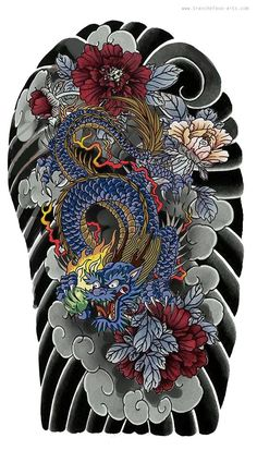 Tattoo Graphique, Tattoo Paris, Dragon Tattoo Back, Oriental, Sick Tattoo, Japanese Dragon Tattoos, Japanese Tattoo Designs, Peonies, Art