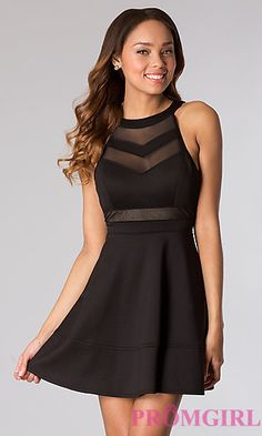 Short Black Sleeveless Dress at PromGirl.com