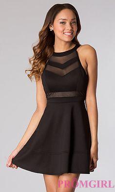 Short Black Sleeveless Dress at PromGirl.com