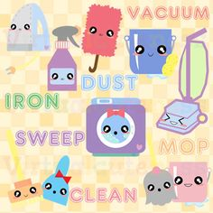 Cleaning Clipart - Spring Cleaning Clip Art, Vacuum, Cute, Kawaii, Planner, Scrapbook, Digital Stickers, Free Commercial and Personal Use
