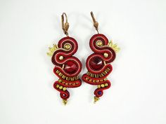 Soutache earrings with Swarovski crystal by AnnaZukowska on Etsy