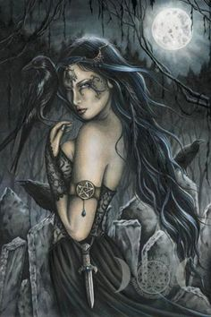 THE MORRIGAN is an Irish Goddess of battle, fertility and the cycle of life. Her names translates to mean Phantom Queen or Great Queen. She sometimes take the form of a crow and fly above warriors during battle. She is a dark Goddess, who is also associated with death and shape shifting. Although she is seen as triple formed (with Badb and Macha), It would be most wise to honour her on the dark or waning moon. (Art by Jessica Galbreth)