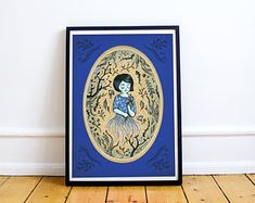 Forest girl, blue, A3 poster - special price
