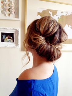 Twisted headband updo – quick and easy updo. To do this, simply take a headband, put it on top of your hair and slightly pull down. Secure with a bobby pin and part hair into two then take one and loop around the headband. Repeat with other side and you're done. You may curl your hair the night before to achieve a more voluminous hairstyle