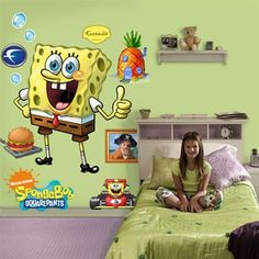 Fathead SpongeBob Movie Portraits Wall Decals Wall Sticker - Spongebob room decals