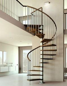 Amazing Wrought Iron Spiral Staircase Interior Design And Decoration Using Oak Wood Staircase Handrail And Stainless Steel Staircase Spindles Picture 63 Staircase Interior Design, Staircase Architecture, Architecture Design, Modern Staircase, Spiral Staircase Dimensions, Spiral Staircase Kits, Spiral Stairs Design, Spiral Staircases, Staircase Ideas