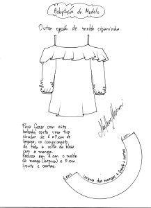 Modelagem de blusa gipsy, ciganinha do 38 ao 54.