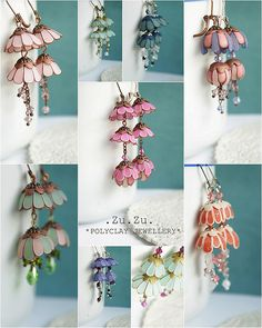 Polymer clay earrings for special occasion - FImo DIY, polymer clay tutorials Fimo Polymer Clay, Polymer Clay Flowers, Polymer Clay Projects, Polymer Clay Creations, Handmade Polymer Clay, Polymer Clay Earrings, Clay Design, Paperclay, Ceramic Clay