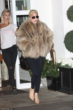 Fur-tastic: Lady Gaga made quite the entrance out of Epione Salon on Tuesday...