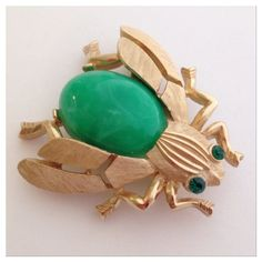 PM Editor HP Vintage Crown Trifari Insect Pin Vintage signed Crown Trifari Green Marbled Cabochon & Rhinestone Eyes Insect Pin! Gold plated. Vintage Jewelry Brooches