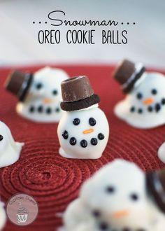 Adorable Snowman Oreo Cookie Balls Recipe. Cute Christmas Party dessert idea