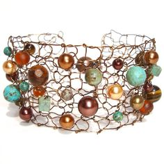Brown and Turquoise Beaded Cuff Bracelet for Fall
