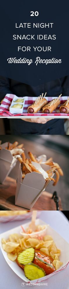 20 Late Night Snack Ideas for your Wedding Reception - Late Night Snack food Ideas from Real Weddings! See all the wedding food ideas on @weddingwire {Megan Clouse Photography ; Ten·2·Ten Photography; LoveDays Photography}