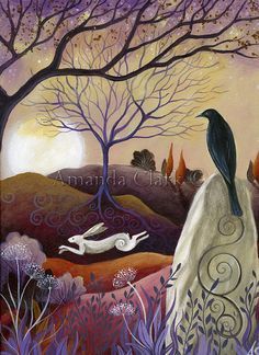 Un art de conte de fées imprimer titrée Hare et Crow.