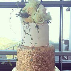 Three tier gold wedding cake by The Birdcage, Stellenbosch