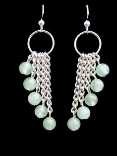 Jade gemstone rounds dangling from silver chain.  $15 #jewelry  #women #fashion