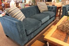 One of a Kind - Blue Sofa - WOODS FURNITURE
