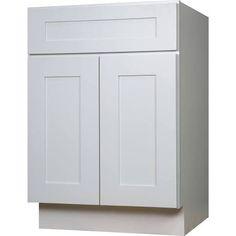 Elegant $250 Everyday Cabinets 24 Inch White Shaker Single Sink Bathroom Vanity  Cabinet