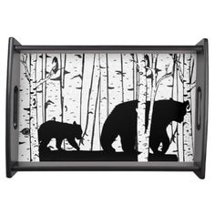 A beautiful serving tray that features a forest with lots of white birch trees and a black mother bear and her cub!