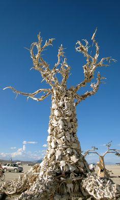 Burning Man  Tree, Skull, Bones, Sculture, art, Desert, instalation