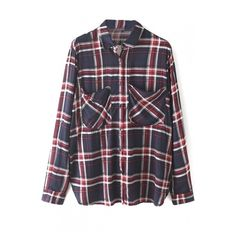 Lapel Double Pockets Button Down Plaid Shirt ($29) ❤ liked on Polyvore featuring tops, beautifulhalo, flannel, shirts, bhalo, long button up shirt, long flannel shirts, long button down shirt, tartan shirt and flannel tops
