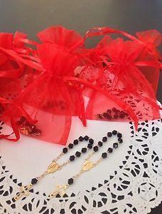 25 mini decade W Red Organza Bag Black Rosary Baptism Communion Wedding Favors  | eBay