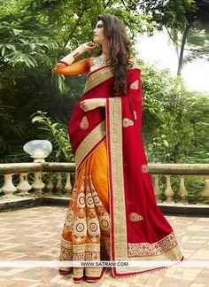 BEAUTIFUL ORANGE & RED COLOURED DESIGNER SAREE PRODUCT CODE: 6431 Rs5,349