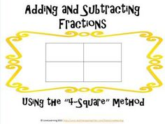 Make the concept of adding and subtracting fractions with unlike denominators EASY for your students using this method!