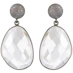 Oxidized Sterling Silver Clear Quartz Dangle Earrings ($68) ❤ liked on Polyvore featuring jewelry, earrings, accessories, white, white earrings, clear quartz jewelry, quartz jewelry, white jewelry and earring jewelry